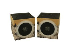 OrigAudio Fold and Play Recycled Cardboard Speakers, Cityscape Design, Pack of 2