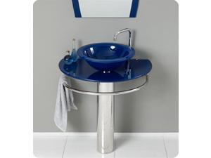 "KOKOLS 30"" Bathroom Tempered Glass Vessel Vanity Sink With Bath Faucet Blue"