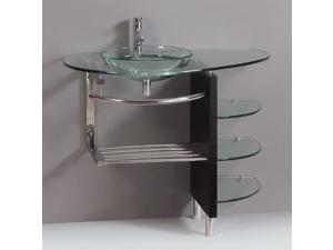 "KOKOLS 39"" Wall Mount Clear Tempered Glass Vessel Vanity Sink Glass Shelf"