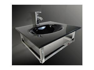 "KOKOLS 24"" Modern Bathroom Wall Mount Black Tempered Vessel Sink Top Combo"