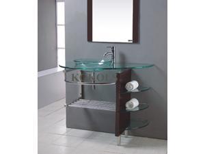 "KOKOLS 32"" Wall Mount Clear Tempered Glass Vessel Vanity Sink Wood Stand"