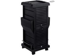 Saloniture Premium Locking Rolling Trolley Cart with Pockets - Black