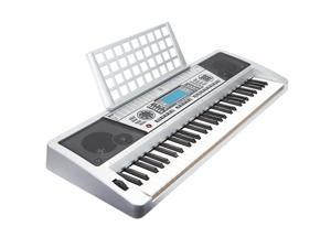Hamzer 61 Key Electronic Music Electric Keyboard Piano with Touch Sensitive Keys & MIDI Output - Silver