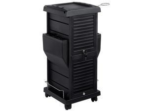 Saloniture Premium Locking Rolling Trolley Cart with Pocket Inserts - Black