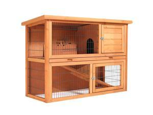 SmithBuilt 48 in. Wooden Two Story Rabbit Hutch