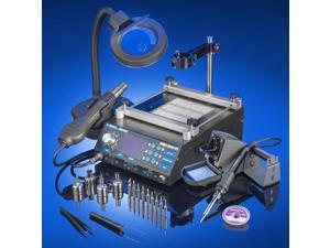 X-Tronic Model #5040-XTS All In One Hot Air Rework Soldering Iron Station With Preheater.  Includes 4 Hot Air Nozzles - 10 Asst. Solder Tips - Pinpoint Tweezers - IC Popper, Gootwick - 5X Mag Lamp