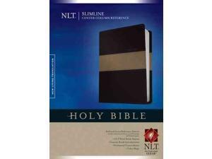 Holy Bible: New Living Translation, Black & Taupe, LeatherLike, Slimline Center Column Reference Edition