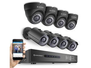 Amcrest 720P Tribrid HDCVI 8CH 2TB DVR Security Camera System w/ 4 x 1MP Bullet Cameras & 4 x 1MP Dome Cameras (Black)