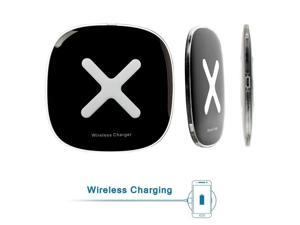 Wireless Charger with Smart Voice Promo - Qi Wireless Charging Pad for Samsung Galaxy Note 5, S6 Edge and All Qi-Enabled Devices (Black)