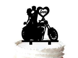 Unique  Motorcycle Couple Monogram Wedding Cake Topper-Soiree Collection