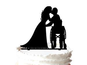 Bride Sweet Kissing The bride in a Wheelchair Silhouette Wedding Cake Topper