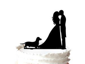 Sweet Kissing Bride and Groom Silhouette Wedding Cake Topper with Dog Pet