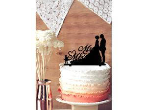 Bride and Groom  with Their Child Girl Daughter Silhouette Wedding Cake Topper, Mr & Mrs Sweet Love Heart Romantic Cake Topper