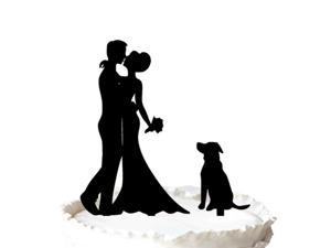 Rustic Wedding Cake Topper, Bride and Groom Silhouette Wedding Cake Topper with Dog Pet