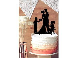 Funny Wedding Cake Topper, Groom and Bride with Two Kids Silhouette Cake Toppe, Family Wedding Cake Topper
