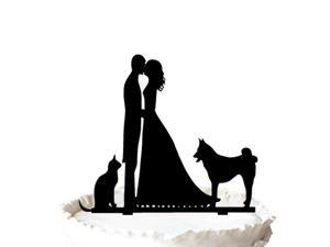 Kissing Bride and Groom with  Cat Dog  Silhouette  Wedding Cake Topper - Acrylic Cake Decoration