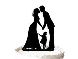 Wedding Cake Topper Silhouette Groom and Bride with A Little Girl - Family  Cake Topper, The Anniversary Day Cake Topper