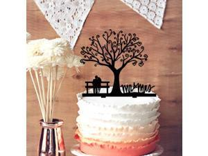 Cherry Blossom Tree The Bride and Groom Sit in Chair Script Mr&Mrs Wedding Cake Topper