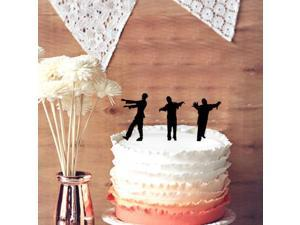 3 Zombies Wedding Cake Topper, Cupcake Toppers - Halloween Wedding Cake Topper