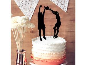 Funny Groom and Bride witth Volleyball Wedding Cake Topper, Sport Cake Topper