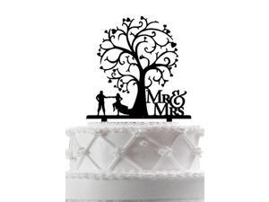 Rustic Bride and Groom with Blossom Tree Wedding Cake Topper, Mr & Mrs Wedding Cake Topper