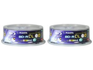 TWO RIDATA BLU RAY 6X 50GB WHITE INKJET PRINTABLE BD-R DL 25 Packs 50 Discs