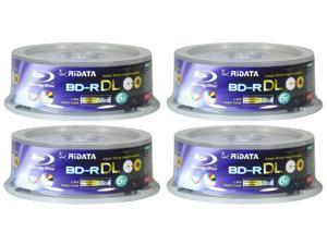 FOUR RIDATA BLU RAY 6X 50GB WHITE INKJET PRINTABLE BD-R DL 25pcs CAKE BOX pack (100 Discs )