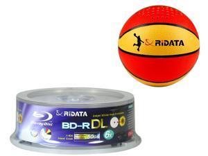 RIDATA BLU RAY 6X 50GB INKJET BD-R DL 25 Pack BUNDLED w/ Ridata Bluetooth Wireless Speaker- Basketball model