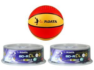 TWO RIDATA BLU RAY 6X 50GB INKJET BD-R DL 25 Pack BUNDLED w/ Ridata Bluetooth Portable Speaker- Basketball model