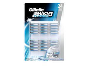Gillette MACH3 Turbo - 24pc - Cartridges  Best 3 Bladed Shave, Cartridges Fit Any Gillette MACH3 Handle