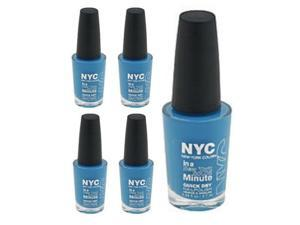 (5 Pack) NYC New York Color In A Minute Quick Dry 296 Wallstreet Blue