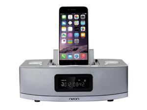 Neon Apple Certified Dual-Docking 9-Pin & Lightning iPod/ iPhone /iPad with 2 Alarm Clock Speaker with Bluetooth,FM Radio ,Compatible with iPhone 6 & able to charge Android based phones or tablets
