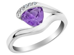 Amethyst Ring 1/2 Carat (ctw) with Diamonds in Sterling Silver