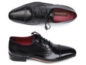 Paul Parkman Men's Captoe Oxfords Black Shoes (Id#5032)