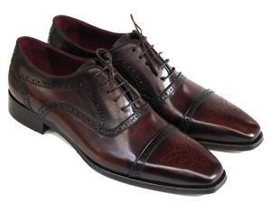 Paul Parkman Men's Captoe Oxfords Bordeaux & Brown Hand-Painted Shoes (Id#024)