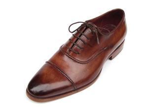 Paul Parkman Men's Captoe Oxfords Brown Hand Painted Shoes (Id#077)