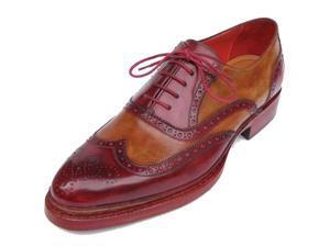 Paul Parkman Men's Triple Leather Sole Wingtip Brogues Bordeaux & Camel Shoes (Id#027)