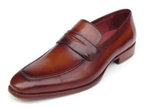 Paul Parkman Men's Penny Loafer Tobacco & Bordeaux Hand-Painted Shoes (Id#067)