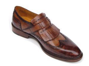 Paul Parkman Men's Wingtip Monkstrap Brogues Brown Hand-painted Leather Shoes (Id#060)