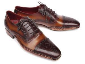 Paul Parkman Men's Captoe Oxfords Brown Hand Painted Shoes (Id#5032)