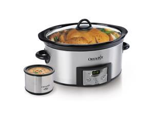 CROCK-POT SCCPVC605-S-A Stainless Steel 6 Qt. 6-Quart Countdown Digital Slow Cooker with Little Dipper Warmer - Stainless Steel