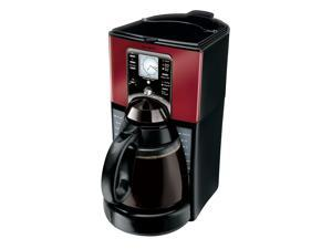 Mr. Coffee® Performance Brew 12-Cup Programmable Coffee Maker, Red/Brushed Chrome FTX49-NP