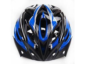 18 Holes Outdoor Adult Safety Road/Mountain Bike Helmet Ultralight Ventilation with Cap Peak(Blue+Blac)