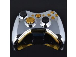 US STOCK Chrome Silver modded Full Shell Gold Buttons for Xbox 360 Wireless Controller