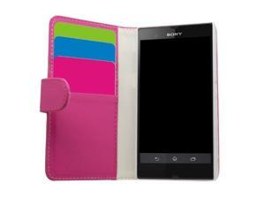 Samrick Executive Specially Designed Soft Leather Book Wallet Case with Credit Card/Business Card Holder for Sony Xperia Z/C6602/C6603/Xperia Z LTE - Pink