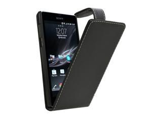 Samrick Specially Designed Leather Flip Case for Sony Xperia Z C6602/C6603/Xperia Z LTE - Black