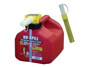 No Spill 1415 1.25 Gallon Red Gas Can with No Fill Nozzle Assembly and 0206 Gas Can Extension Tube