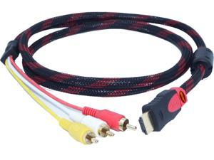 QSMHYM HDMI Male TO 3RCA(Red,White,Yellow) with Braid 1.5m Cable