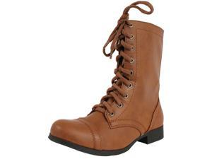 Girls Tan Combat Lace-Up Riding Mid-Calf Boots Soda Relax Tan PU