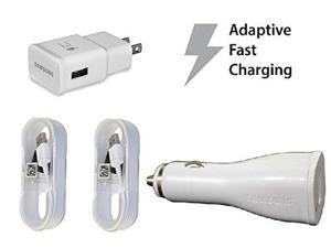 Fast Adaptive Charging Combo! OEM Authentic Samsung Travel Charger+Car Charger+2 (Two) 5 foot Micro USB 2.0 Data Charging Cables for Galaxy Note 4 5 S6 S6 Edge + EP-LN915U EP-TA20JWE ECBDU4EWE